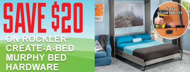 Save $20 on Rockler Creat-A-Bed Murphy Bed Hardware