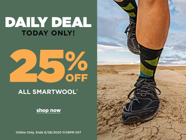 Daily Deal: 25% OFF All Smartwool - Online Only - Click to Shop