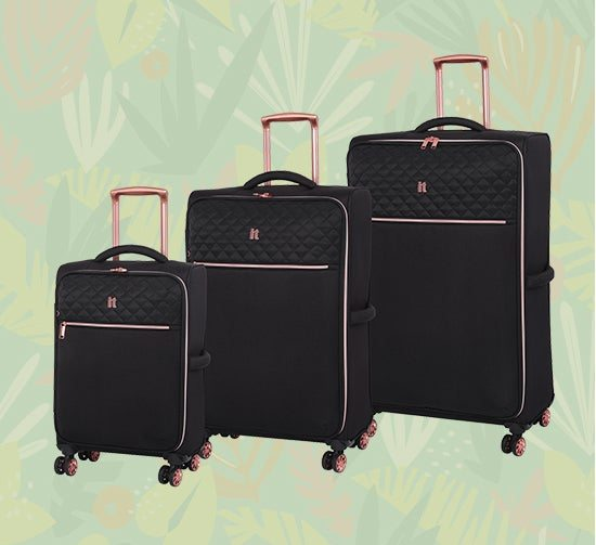 IT Luggage Divinity Black & Rose Gold Trim Quilted Suitcase