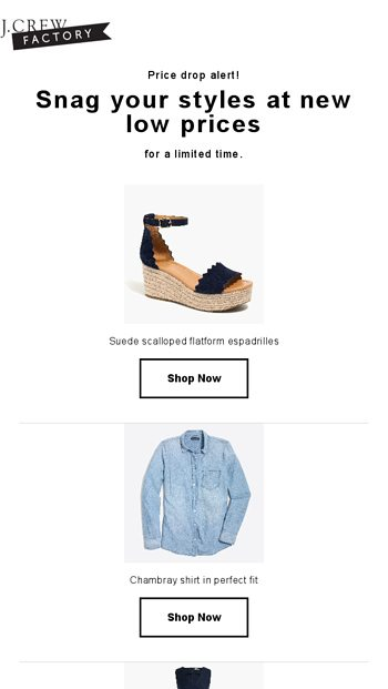 c7a5bcc6531 Price drop on what you viewed - J.Crew FACTORY Email Archive