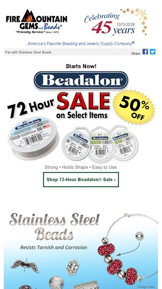 eb508c5989acf 50% Off Beadalon Wire - 72 Hours ONLY - Fire Mountain Gems Email Archive
