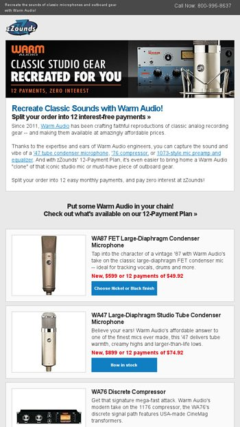 Warm Audio: 12 Payments, Zero Interest! - zZounds News Email