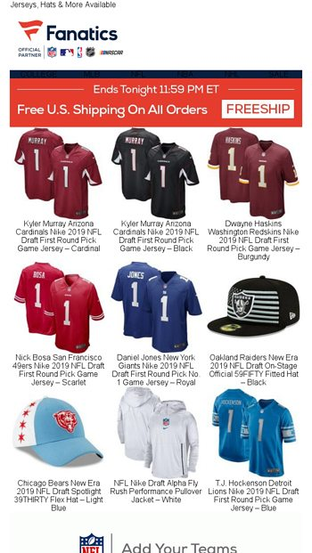 7b2f8da31026e8 FREE Shipping on NFL Draft Essentials - Fanatics.com Email Archive