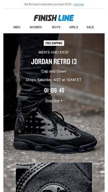 timeless design cee7d 9d0f6 Jordan Retro 13 'Cap and Gown'. - Finish Line Email Archive