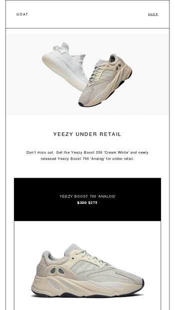 buy popular 465a6 5eb1c Now Under Retail: Yeezy 350 'Cream White' and Yeezy 700 ...