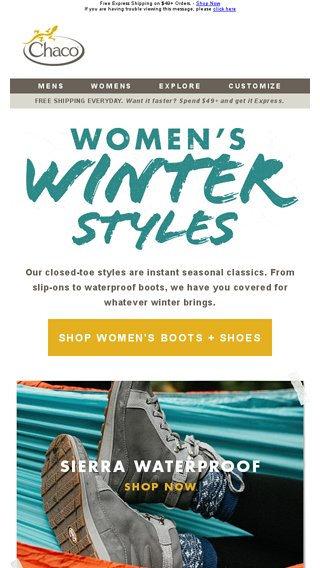 60cf3d11549 Favorite Women's Winter Styles + Shop Sale - Chaco Email Archive