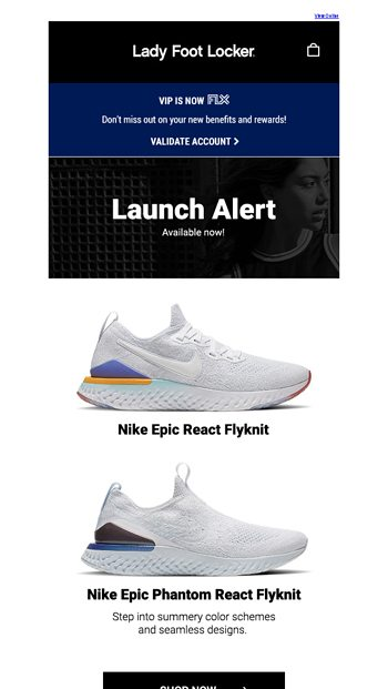 9214d8c6b4ab Lady Foot Locker Newsletters. 1 24 AM. Nike Epic React Flyknit Available Now