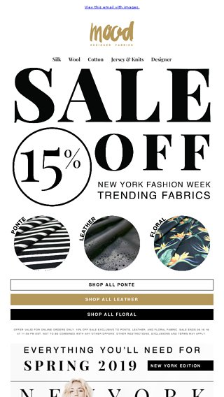 15 Off Sale Nyfw Inspired Fabrics Mood Fabrics Email Archive