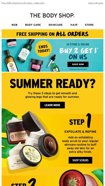 3 Steps To Summer Ready Skin The Body Shop Email Archive