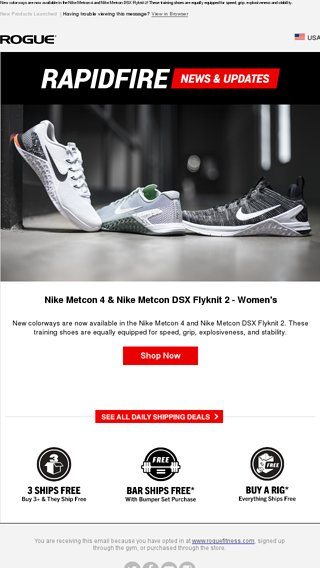 Just Launched  Nike Metcon 4   Nike Metcon DSX Flyknit 2! - Rogue Fitness  Email Archive 6048d3434