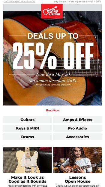 This is not a drill: Deals up to 25% off - Guitar Center Email Archive