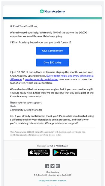 Khan Academy Email Newsletters