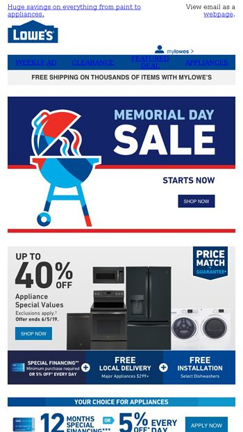 The Memorial Day Sale Starts Now Lowe S Email Archive