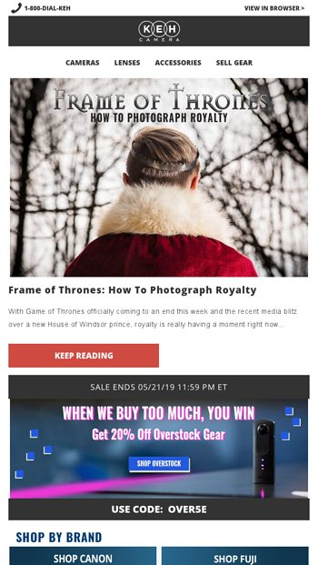 Frame of Thrones 📸👑 - KEH Camera Email Archive