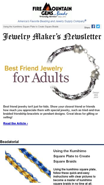 503c11e61 Newsletter for Jewelry Makers - Best Friend Jewelry for Adults - Fire  Mountain Gems Email Archive