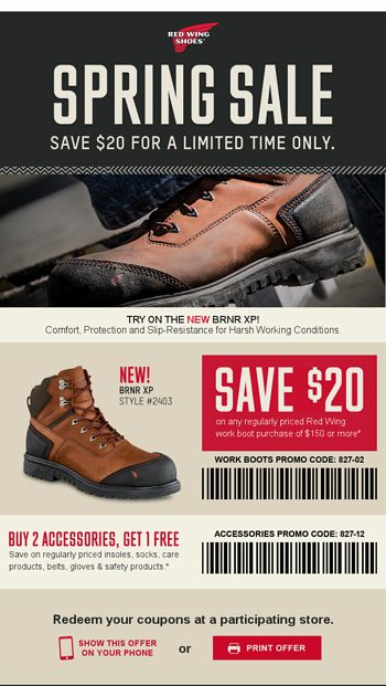 graphic relating to Red Wing Boots Printable Coupons titled Redeem This Coupon for Get the job done Boot Discounts - Purple Wing Sneakers
