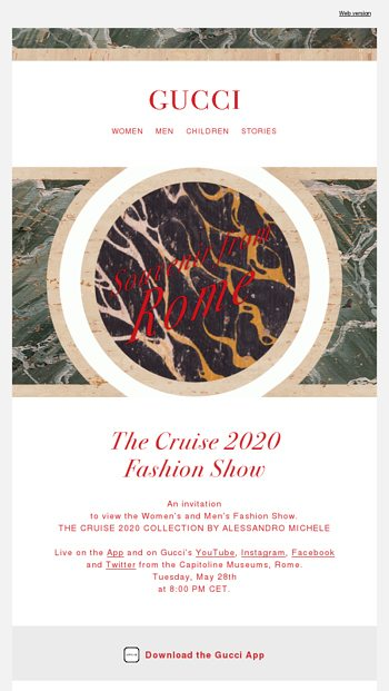 66095eb2 Watch the Cruise 2020 Fashion Show - Gucci Email Archive