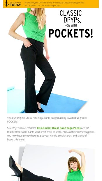 c98cc95fe9 Dress Pant Yoga Pants, now with POCKETS! - Betabrand Email Archive