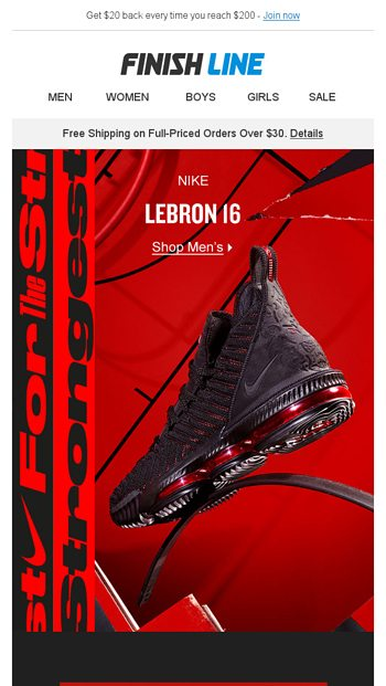 sports shoes 07045 3131c LeBron 16 'Fresh Bred'. - Finish Line Email Archive