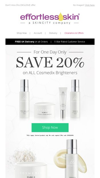 For One Day Only | Get 20% OFF All Cosmedix Skin Brighteners
