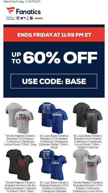789309904 Save Up To 60% Tonight - Fanatics.com Email Archive