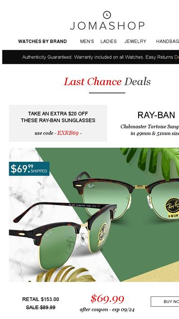 70944351650 Final hours   Extra  400 off Omega • Ray-Ban • Lucien Piccard • Tag Heuer -  Jomashop Email Archive