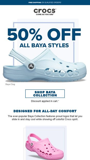 6c458a49b We ve got comfort to spare  50% OFF All Baya styles - Crocs Email Archive