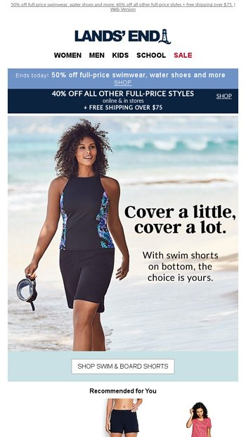 54fdfef4898 50% off swim shorts + any top = your ideal suit - Lands' End Email ...