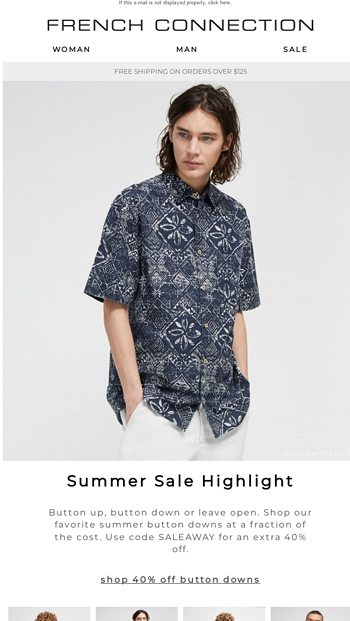 7cd5822c350 Summer Button Downs | Sale on Sale! - French Connection US Email Archive