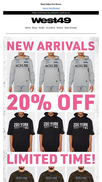 1a536dc7 BOXING WEEK DEALS - Hoodies from $15! - West 49 Email Archive