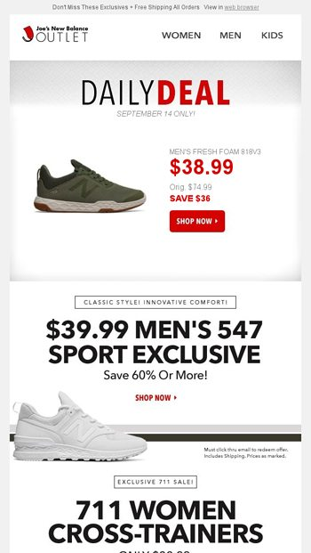 ec1a3fa028434 Your Daily Deal: $38.99 Men's 818 Cross Trainer l Plus 3 Email Members ONLY  Offers! - Joe's New Balance Outlet Email Archive