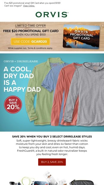 194d411331196 Get drirelease for Dad & save 20% when you buy 2! - Orvis Email Archive