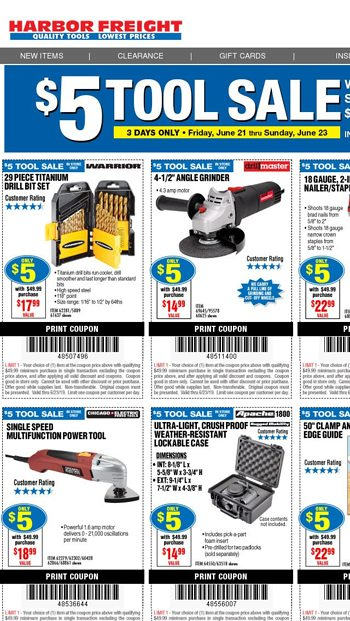 IN-STORE EXCLUSIVE: $5 TOOL SALE (COUPONS INSIDE) - Harbor