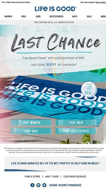 Last chance to score a FREE beach towel 💦 - Life is Good