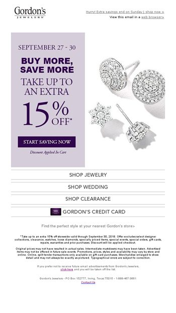 Gordons Credit Card >> Starts Today Shop And Save Up To 15 More Gordon S Jewelers