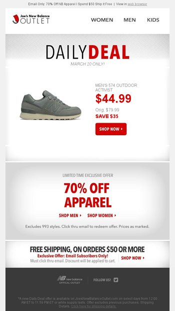 85623d8533da2 Your Daily Deal: 574 Outdoor Activist - Joe's New Balance Outlet Email  Archive
