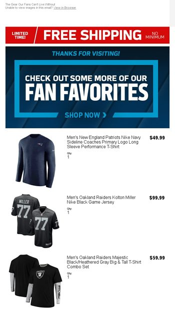 18bbf25b4010e0 More Gear You'll Love - NFLShop Email Archive