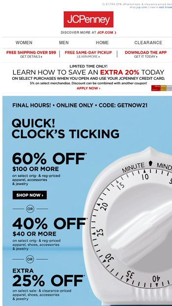 🏁 FINAL TAKE CLEARANCE | Up to 70% OFF! - JCPenney Email