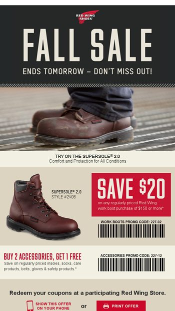 graphic relating to Red Wings Boots Printable Coupons called Ultimate likelihood: $20 operate boot personal savings are practically absent - Crimson