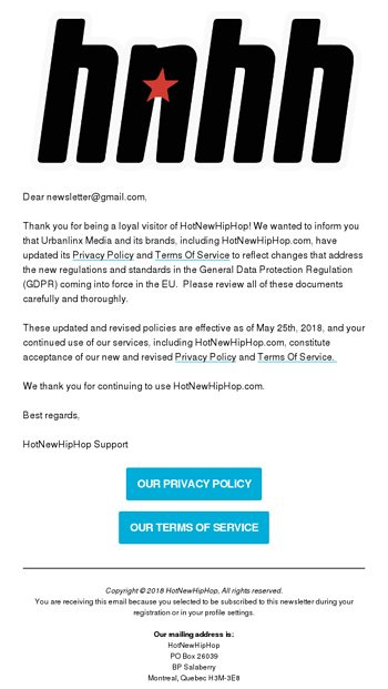 Important Notice Regarding HotNewHipHop's Terms and