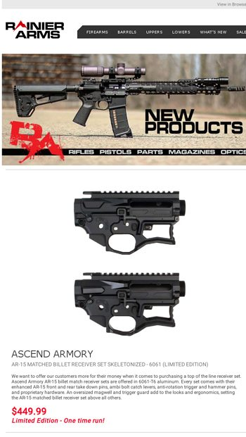 New Products and Weekend Sale! - Rainier Arms Email Archive