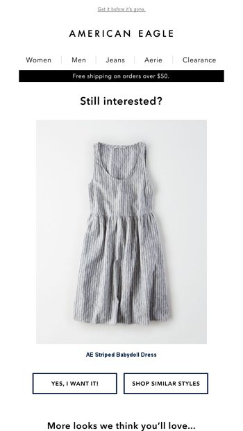 2c2981ccd42b2 Still looking for the AE Striped Babydoll Dress? - aerie Email Archive