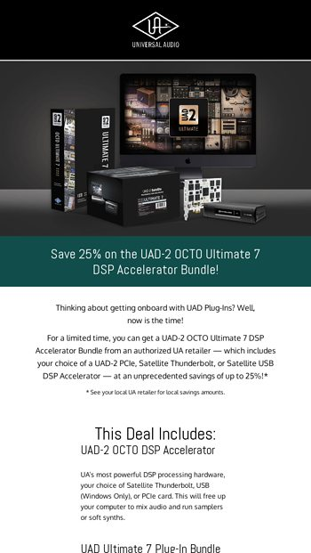 Save 25% on the UAD-2 OCTO Ultimate 7 DSP Accelerator Bundle