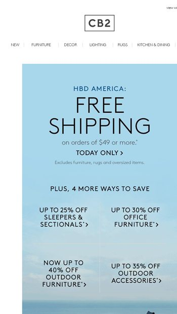 Cb2 Free Shipping >> Land Of The Free Shipping Cb2 Email Archive