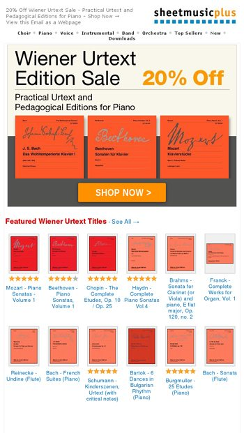 Wiener Urtext Editions NOW 20% OFF! - Sheet Music Plus Email