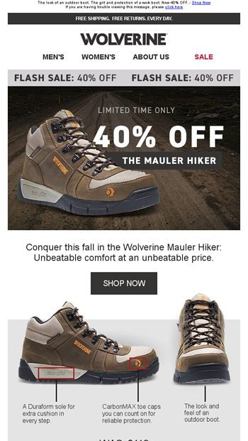 c494d890e9d FLASH SALE: Save 40% on the Mauler Boot! - Wolverine Email Archive