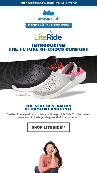 6b63a1bd5e Crocs Club First Look  introducing LiteRide™ - Crocs Email Archive