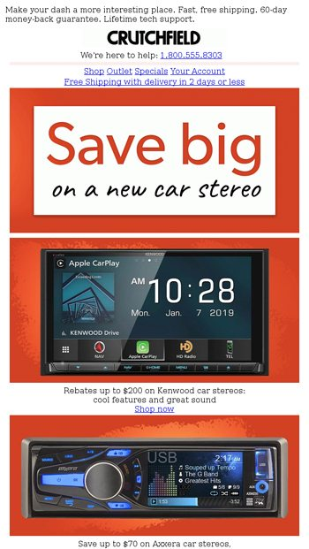 Save big on a new car stereo - Crutchfield Email Archive