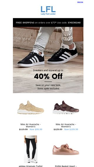 564fdf506d9ce Save Up To 40 On Looks You Love Lady Foot Locker Email Archive. Womens Nike  Air ...