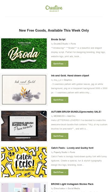 ☺ Happy Monday – Download 6 New Free Goods! - Creative